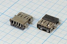 Фото 1/2 Разъем USB, USB Типа A, USB2.0, Гнездо реверсивное (reverse), 4 вывода, № 13265 гн USB revers\A\4P4C\ плат\\\USBA-SA5 REV