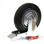 Большегрузное колесо обрезиненное поворотное, с тормозом ...