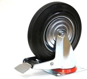 Большегрузное колесо обрезиненное поворотное, с тормозом, г/п 200кг 200*50,0 мм 00-00001257