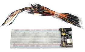 Беспаечная макетная плата BB-102 165 х 54 х 8,5 мм (в комплекте перемычки ВВJ -65 MM папа-папа+ модуль USB)