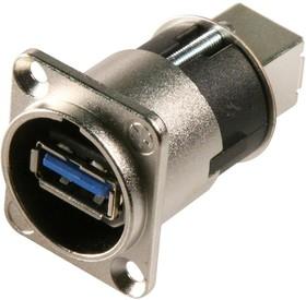 Фото 1/2 NAUSB3, Адаптер USB, Гнездо USB Типа A, Гнездо USB Типа B, USB 3.0, NAUSB Series, Латунь