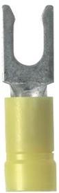 PV10-10LF-D, Fork Terminal 10-12AWG Copper Yellow 26.42mm Tin Box