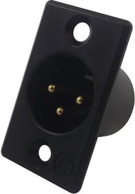 NC3MP-B, Аудио разъем XLR, 3 контакт(-ов), Штекер, Монтаж в Панель, Контакты с Покрытием из Золота