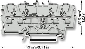 2004-1407, Клеммная колодка на DIN рейку, 4 вывод(-ов), 20 AWG, 10 AWG, 6 мм², Зажим, 32 А
