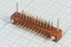 Прямоугольный соединитель штекер, шаг P3,0мм, 22С, 22 контакта,пластиковый, угловой, двухрядный, МРН22-2
