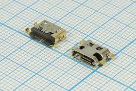 Фото 1/2 Разъем micro USB-B, Гнездо реверсивное (reverse), 5 выводов, № 14385 гн microUSB REV\B\5C4HP\плат\\\ microUSBB5SAD11REV
