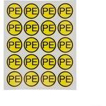 55-0004, Наклейка знак электробезопасности «PE» d - 20 мм (20 шт на листе)