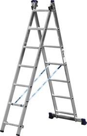 Фото 1/2 38823-07, Лестница СИБИН универсальная, двухсекционная, 7 ступеней
