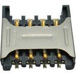 MC002012, Гнездо памяти, Гнездо SIM, 8 контакт(-ов), Фосфористая Бронза ...