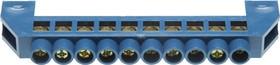 49805-10, Шина СВЕТОЗАР нулевая, в изоляц оболочке, 6х9мм, 10 полюсов, макс. ток 100А