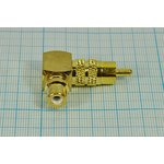 Фото 2/3 Переходник штекер RCA на гнездо RCA, угловой, золотой, № 10269g шт RCA-гн RCA\угл \Au\мет\