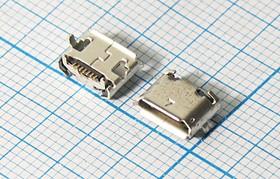 Разъем micro USB-B, Гнездо угловое реверсивное (reverse), 7 выводов, № 10057 гн microUSB REV\B\7C4HP\плат\ угл\\microUSBB7SD2REV