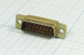 Фото 1/2 Прямоугольный соединитель штекер, 15P, 15 контактов, на плату, РП15-15ШВВ