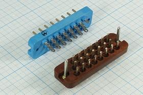 Фото 1/4 Прямоугольный соединитель штекер, шаг P6,4мм, 22P, 22 контакта, на панель/на кабель, РП10-22