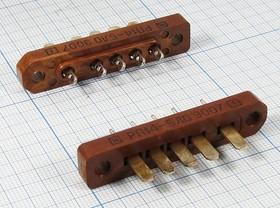 Прямоугольный соединитель штекер, шаг P6,1мм, 5C, 5 контактов, без ловителей, РП14-5ЛО