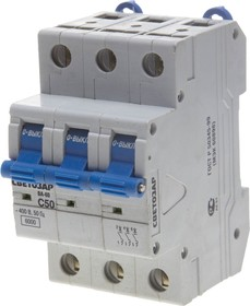 """SV-49063-50-C, Выключатель автоматический СВЕТОЗАР 3-полюсный, 50 A, """"C"""",откл. сп. 6 кА, 400 В"""