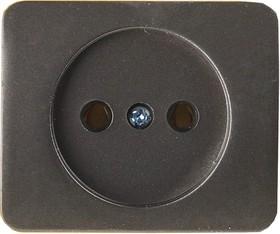 """SV-54100-DM, Розетка СВЕТОЗАР """"ГАММА"""" без заземления, одинарная, без вставки и рамки, цвет темно-серый металлик,"""