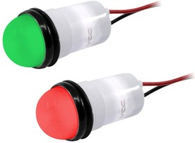 """PML50SRGFVW, .688"""" DIA (17.5MM) RED/GREEN LED PANEL MOUNT INDICATOR WITH SEMI DOME FLEX VOLTAGE WIRE LEADS 02AH91"""