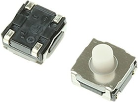 SKRAAME010, Switch Tactile N.O. SPST Round Button J-Bend 0.05A 12VDC 1.96N SMD Automotive T/R