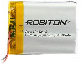 LP443442, Аккумулятор литий-полимерный (Li-Pol) 600мАч 3.7В, с защитой | купить в розницу и оптом