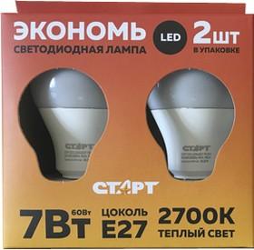 """ECO-LED-GLS-E27-7W30-2, Лампа светодиодная """"свеча"""" 7Вт,220B, упаковка из 2шт."""