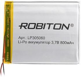 LP305060, Аккумулятор литий-полимерный (Li-Pol) 800мАч 3.7В, с защитой