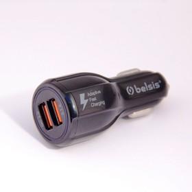 BS1308, Автомобильное зарядное устройство, быстрая зарядка- Quick Charge QC 3.0, 2 USB, 5,1 A, чёрный