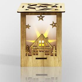 """Фото 1/5 504-023, Деревянная фигурка с подсветкой """"Волшебный фонарик"""" 13,8*11*11 см"""
