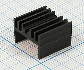 Ребристый радиатор чёрного цвета , 12067 охладитель 15x 15x 10\H02\\Al\чер\BLA002-15\