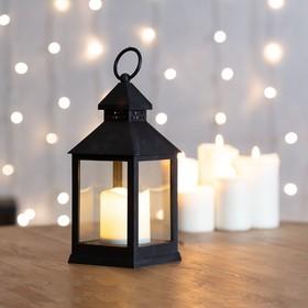 Фото 1/5 513-051, Декоративный фонарь со свечкой, черный корпус, размер 10.5х10.5х24 см, цвет ТЕПЛЫЙ БЕЛЫЙ