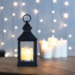 Фото 2/5 513-051, Декоративный фонарь со свечкой, черный корпус, размер 10.5х10.5х24 см, цвет ТЕПЛЫЙ БЕЛЫЙ