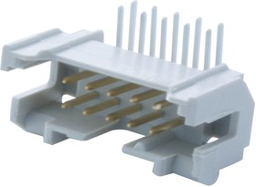2-1393586-7, Разъем типа провод-плата, угловой, 2.54 мм, 10 контакт(-ов), Штыревой Разъем, Пайка, 2 ряд(-ов)