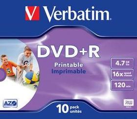 Оптический диск DVD+R VERBATIM 4.7Гб 16x, 10шт., 43508, jewel case, printable