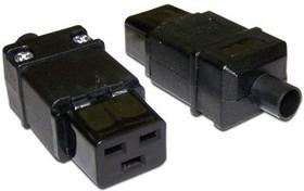 Вилка Lanmaster IEC 60320 C19 16A 250V разборная черная [lan-iec-320-c19]