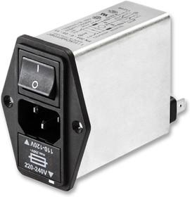 FN1394-6-05-11, IEC фильтр, 250 В AC, От Электромагнитных Помех, от Радиопомех, 7.2 А, Быстрое Соединение, 2.5 мГн