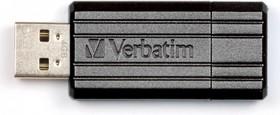 Фото 1/2 Флешка USB VERBATIM PinStripe 32Гб, USB2.0, черный [49064]