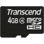 Карта памяти microSDHC TRANSCEND 4 ГБ, Class 4, TS4GUSDC4, 1 шт.