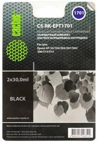 Заправочный комплект CACTUS CS-RK-EPT1701, для Epson, 60мл, черный