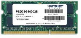 Модуль памяти PATRIOT PSD38G16002S DDR3 - 8Гб 1600, SO-DIMM, Ret
