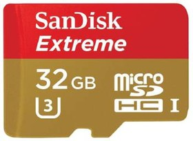 Карта памяти microSDHC UHS-I U3 SANDISK Extreme 32 ГБ, 90 МБ/с, 600X, Class 10, SDSQXVF-032G-GN6MA, 1 шт., переходник SD