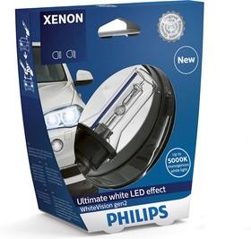 Фото 1/6 Лампа автомобильная D3S 42V-35W (PK32d-5) WhiteVision gen 2 (Philips)