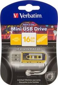 Флешка USB VERBATIM Mini Cassette Edition 16Гб, USB2.0, желтый и рисунок [49399]