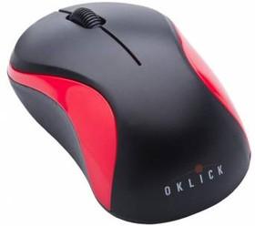 Мышь OKLICK 605SW оптическая беспроводная USB, черный и красный [wm-288]