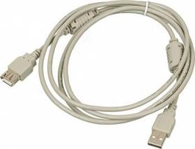 Кабель-удлинитель USB2.0 USB2.0-AM-AF-1.8M-MG, USB A (m) - USB A (f), ферритовый фильтр , 1.8м, серый