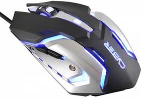 Мышь OKLICK Cyber 855G оптическая проводная USB, черный и серебристый [gm-08m]