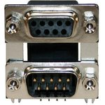 178-009-313R491, STACKED D SUB CONNECTOR, RCPT/PLUG, 9POS