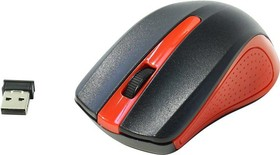 Мышь OKLICK 485MW+ оптическая беспроводная USB, черный и красный [m-610]