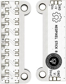 Печатная плата Neopixel stick 8, Печатная плата с разводкой, FR4 15.24х40.64мм (1.5мм, 18мкм)
