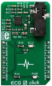 MIKROE-3446, Add-On Board, ECG5 Click Board, AD8232 Bio-Signal Front End, Wearables, MikroBUS Connector