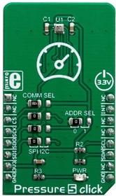 MIKROE-3566, Add-On Board, Pressure 5 Click Board, BMP388 Barometric Pressure Sensor, MikroBUS Connector
